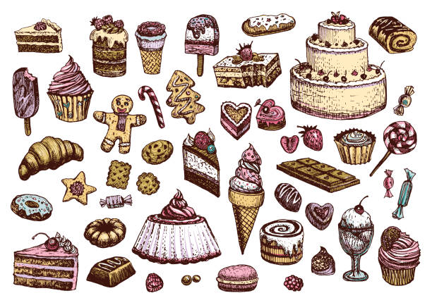 Sweet collection of colored drawings in vintage style. Confectionery products vector illustrations. Sweet collection of colored drawings. Illustrations of cakes, pies, biscuits, ice cream, cookies, sweets and other confectionery products. Hand drawn sketch in vintage style. cake drawings stock illustrations