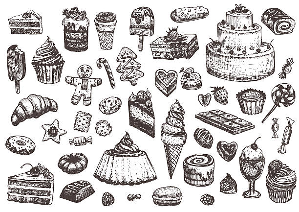 Sweet collection of drawings. Sweet collection of drawings. Illustrations of cakes, pies, biscuits, ice cream, cookies, sweets and other confectionery products. Hand drawn sketch in vintage style. cake drawings stock illustrations