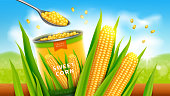 Sweet corn realistic vector advertising poster. Open tin can or conserve with golden yellow corn grains or maize, promo banner