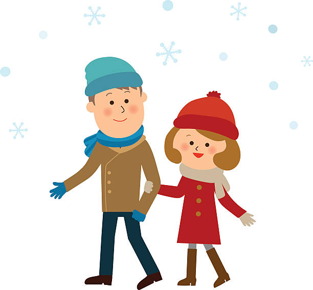 sweet couple in the snow it's snowing. cute teen couple stock illustrations