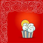 Sweet cupcake with orange slice