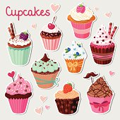 Sweet cupcakes. Colorful tasty vector set