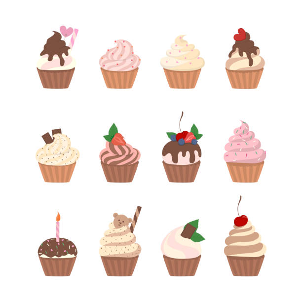 sweet cupcakes set. - cupcake stock illustrations, clip art, cartoons, & icons