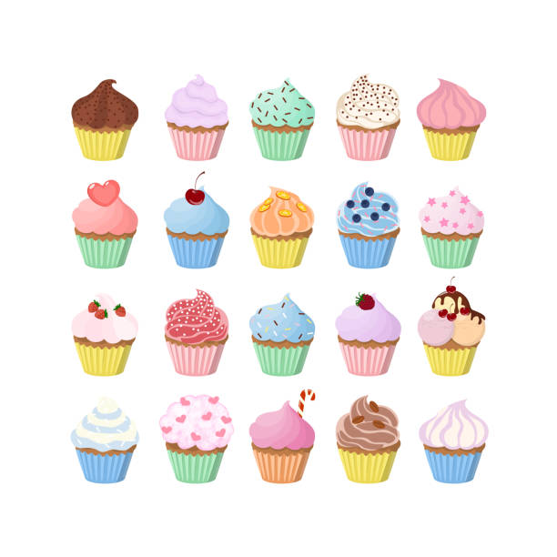 Sweet cupcakes set Sweet cupcakes set with decoration and fillings. cupcake stock illustrations