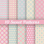 Sweet cute vector seamless patterns (tiling)