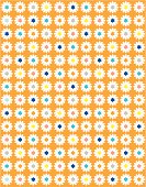 Sweet daisy dotty floral in bright pastel colours. Ideal for spring or summer, on a orange background.