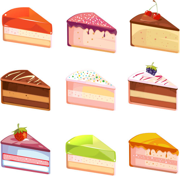 Sweet Delicious Cake Slices Pieces Vector Icons Art Ilration