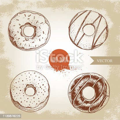 Sweet dessert donuts. Hand drawn sketch style illustration. Glazed, iced sweet doughnut with chocolate. Fresh bakes. Isolated on old background.