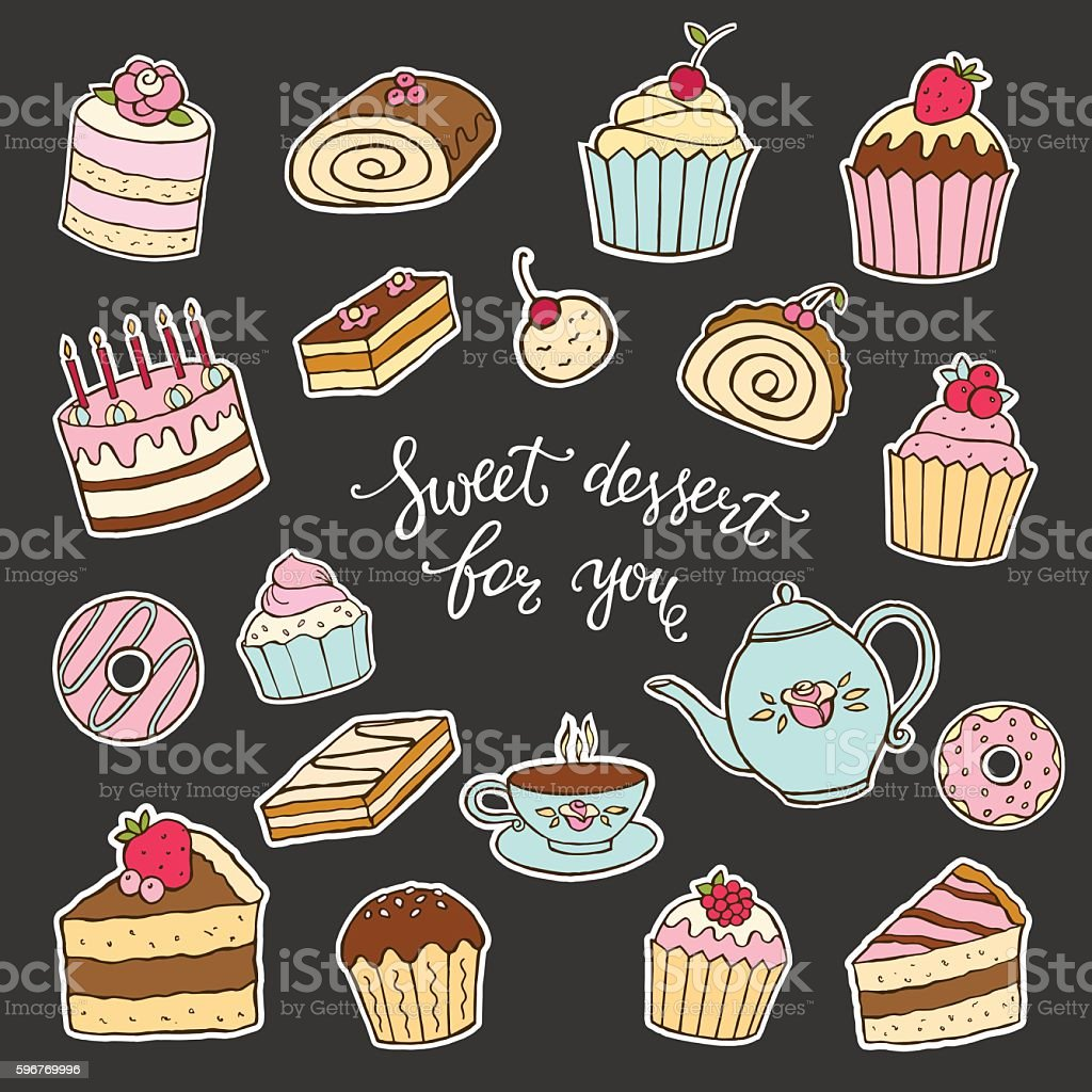 Sweet Dessert For You Hand Lettering And Cakes Lizenzfreies