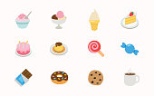 Sweet Dessert icons set. Cake, Ice Cream, Cookie, Candy, Chocolate bar, Lollipop, Strawberry Cake flat illustrations collection - Vector
