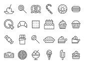 Sweet dessert icons. Sweetly cake, sweets ice cream and muffin cakes. Desserts line art pancakes, celebration chocolate cookies or cheese cream tart bakery dessert. Isolated vector icon set