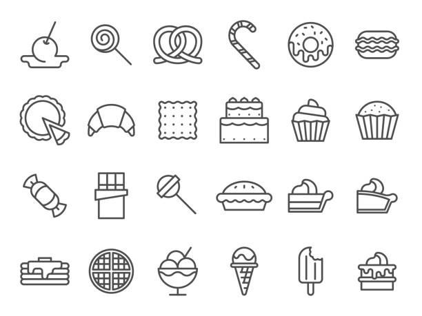 甘いデザートアイコン。甘いケーキ、スイーツアイスクリーム、マフィンケーキ。デザートラインアートベクトルアイコンセット - ワッフル点のイラスト素材/クリップアート素材/マンガ素材/アイコン素材