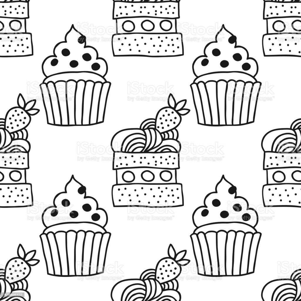 Sweet dessert illustration. Black and white seamless pattern with cakes for coloring books. royalty-free sweet dessert illustration black and white seamless pattern with cakes for coloring books stock vector art & more images of abstract
