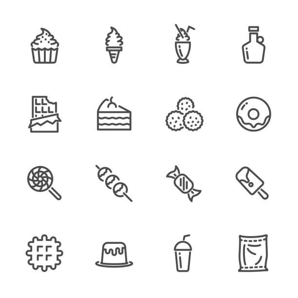 süße desserts, zucker ursache für übergewicht. vektor-linie icons set - vanillesauce stock-grafiken, -clipart, -cartoons und -symbole