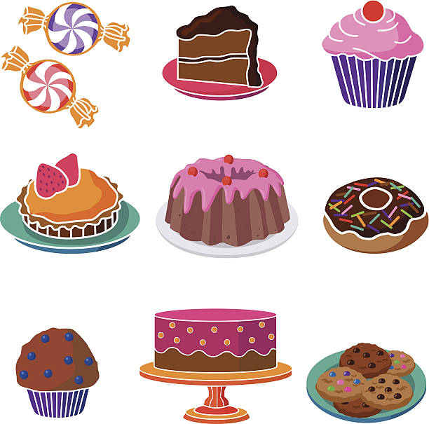 sweet desserts and candy vector art illustration