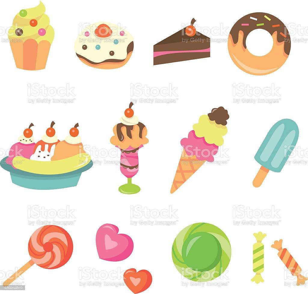 Sweet Desserts Icon Set vector art illustration