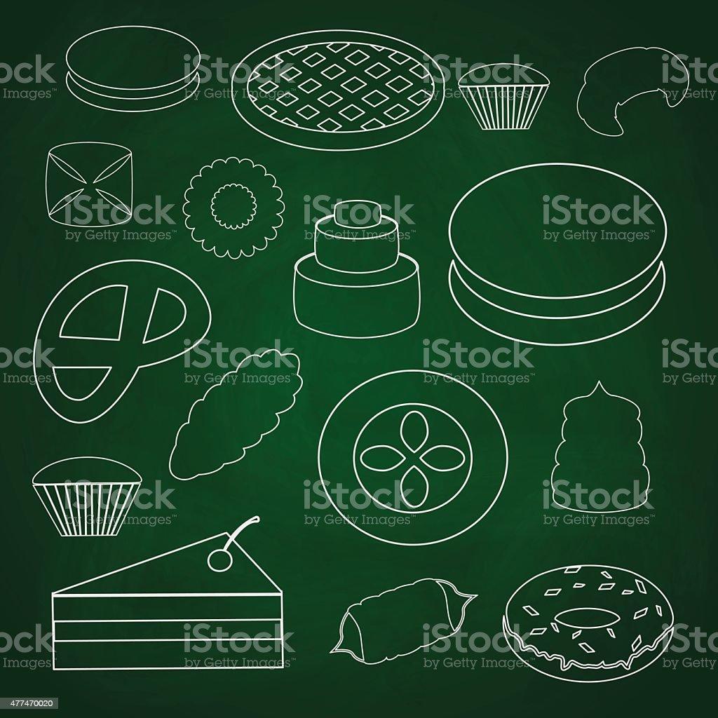 sweet desserts outline icons on blackboard eps10 vector art illustration