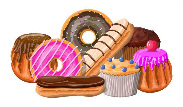 süße desserts setzen. - wackelpuddingkekse stock-grafiken, -clipart, -cartoons und -symbole