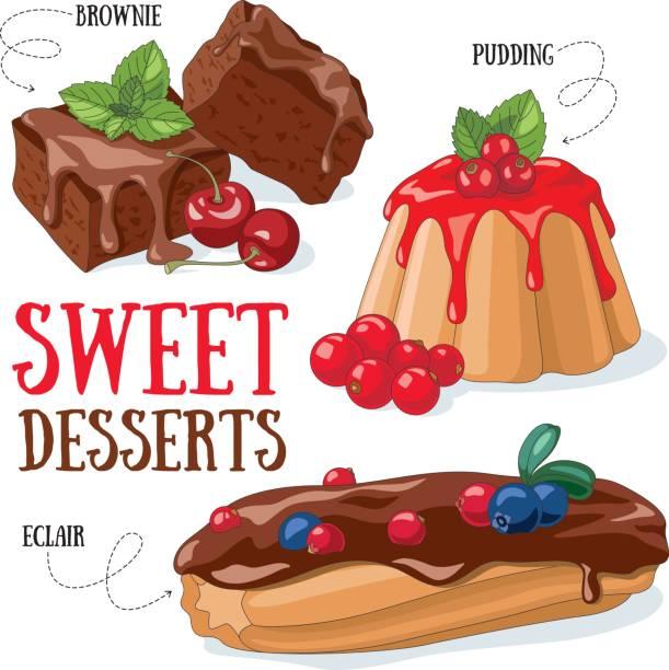 bildbanksillustrationer, clip art samt tecknat material och ikoner med söta desserter - brownie