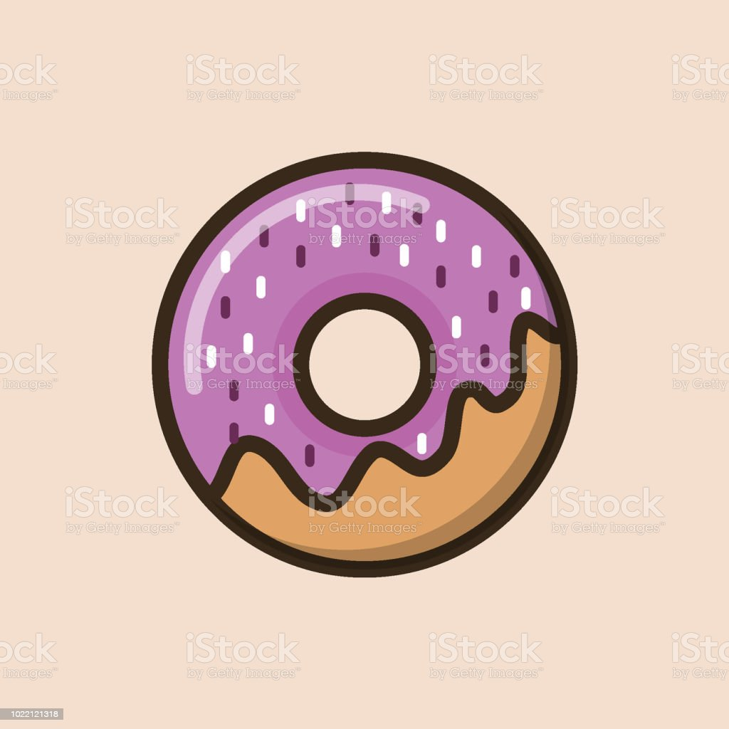 Sweet Donut With Pink Cream And Edible Confetti Stock Vector