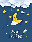 Sweet dream and Good night concept illustration, Baby shower greeting card, Invitation Template, vector paper art