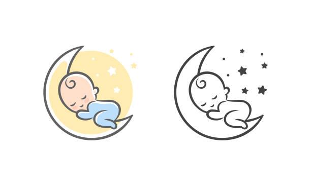 bildbanksillustrationer, clip art samt tecknat material och ikoner med söt dröm logo - baby sleeping