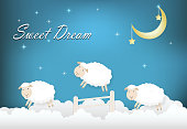 Sweet dream text with sheep jumping on cloud paper art style illustration