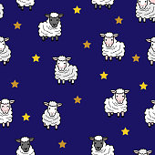 sweet dream with cute sheep seamless pattern