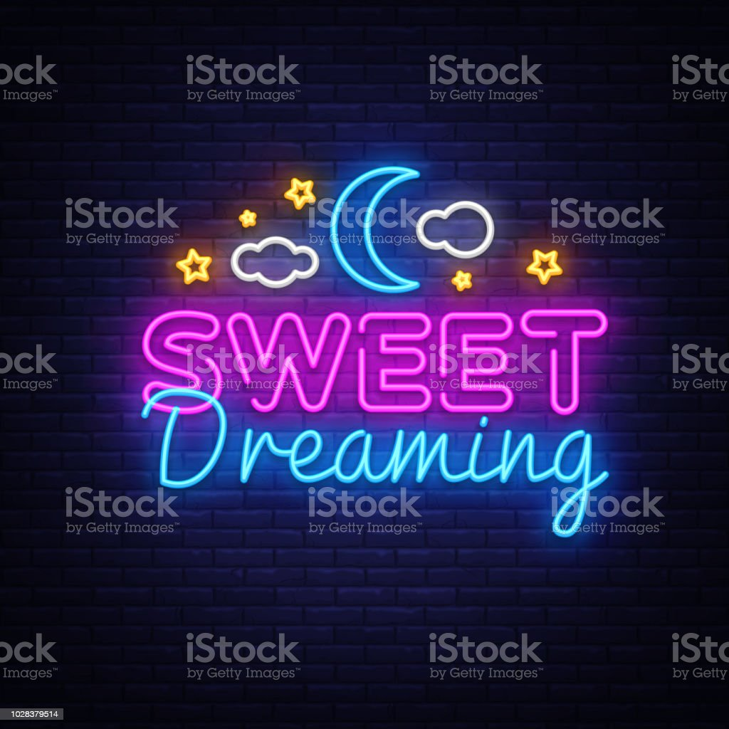 Sweet Dreaming Neon Sign Vector. Sweet Dreaming neon text, design...