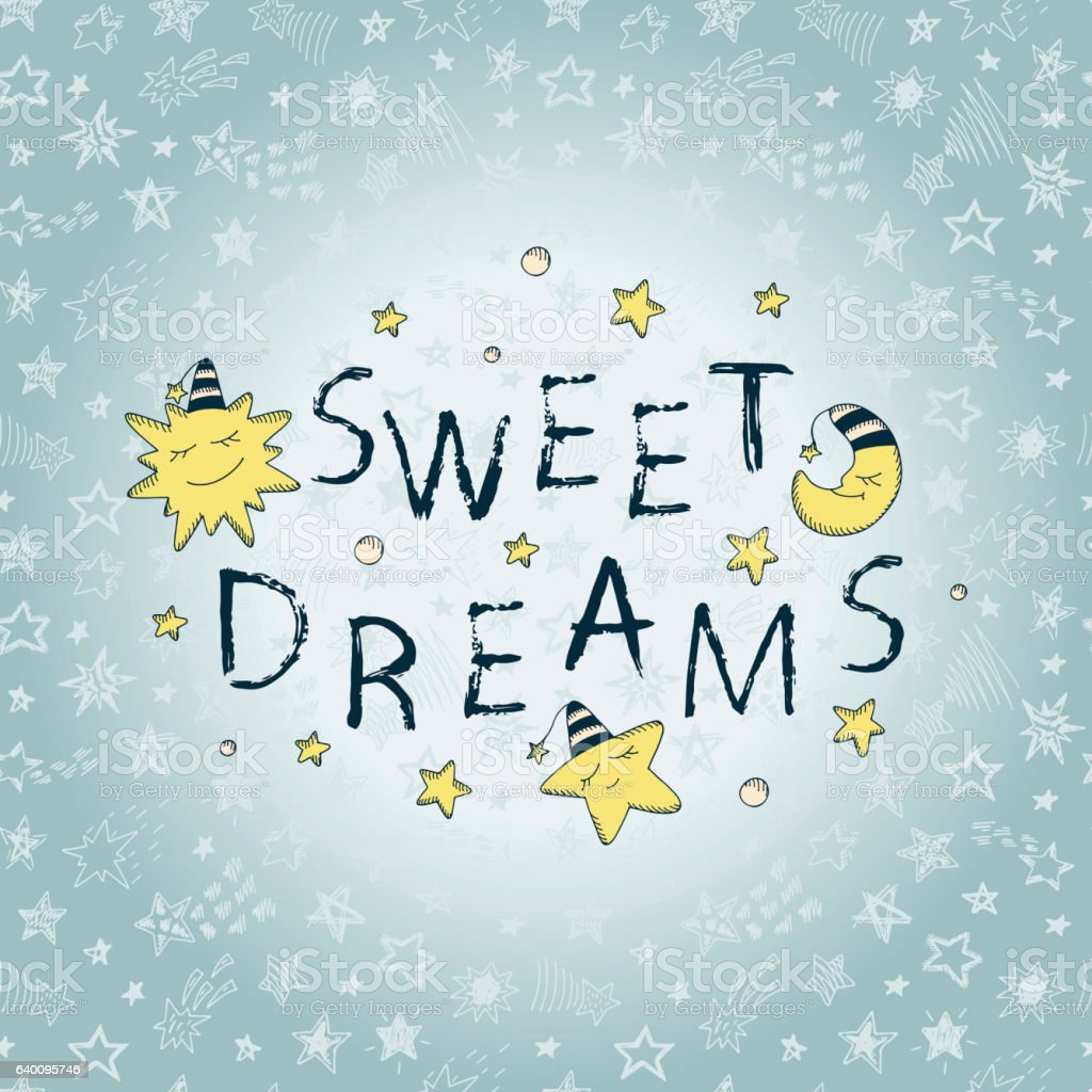 'Sweet Dreams' Brush strokes lettering with cute Sun, Moon, Star - Illustration vectorielle