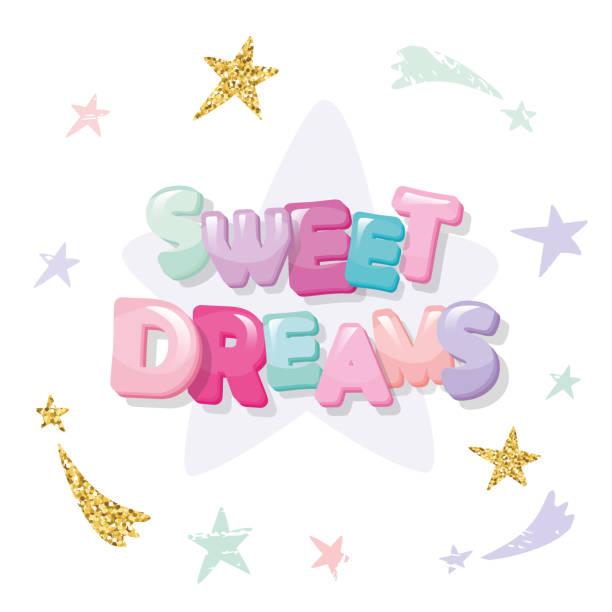 illustrations, cliparts, dessins animés et icônes de faites de beaux rêves conception mignonne pour vêtements de nuit, pyjamas, tee-shirts. dessin animé de lettres et stars dans des couleurs pastel avec des éléments de paillettes. - nuage 6