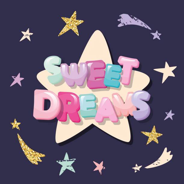 illustrations, cliparts, dessins animés et icônes de faites de beaux rêves conception mignonne pour vêtements de nuit, pyjamas, tee-shirts. dessin animé lettres et étoiles sur fond sombre. - nuage 6