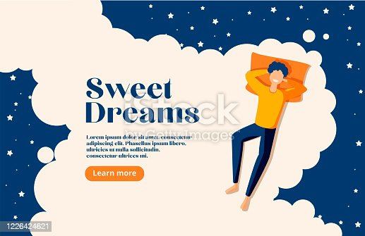 istock Sweet dreams, good health concept. Young man sleeps on side. Vector illustration of boy in bed, night sky, stars. Advert of mattress. Design template with pose of sleeping for flyer, layout 1226424621