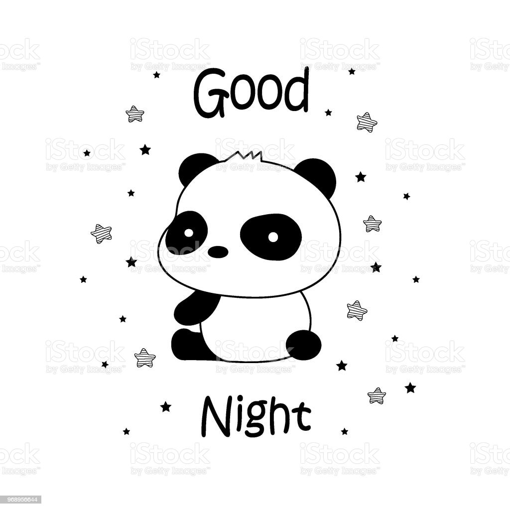 sweet dreams panda vector illustration stock vector art more