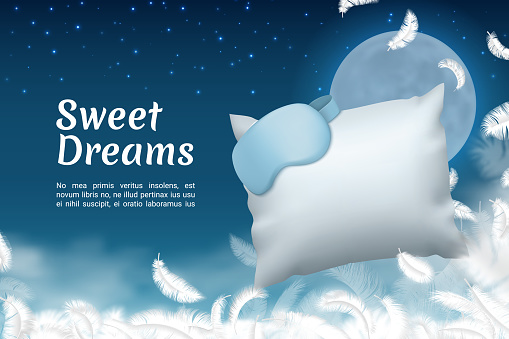 Sweet dreams poster. Realistic sleep mask and soft pillow. Comfortable bedding or healthy sleeping. White feathers on background of night sky with moon and stars. Vector banner template