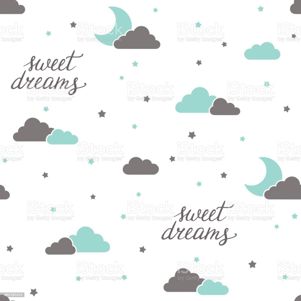 Sweet dreams seamless background vector art illustration
