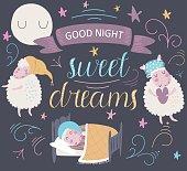'Good night. Sweet dreams' poster with cute sleeping sheep in cartoon style.