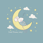 Sweet dreams. Cartoon vector illustration for kids. Use for print design, surface design, fashion kids wear, baby shower