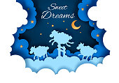 Vector layered paper cut style moonlit starry night sky with cute sheep jumping over fence. Sweet dreams concept for card, banner, flyer etc.