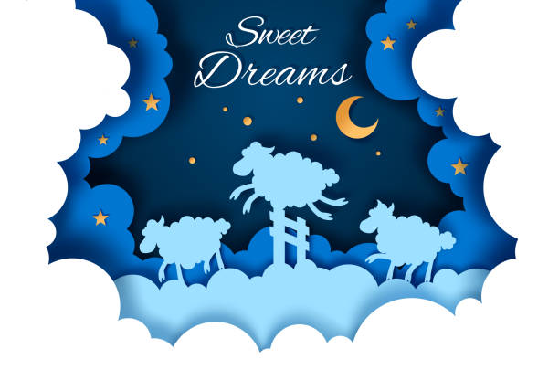 Sweet dreams vector illustration in paper art style Vector layered paper cut style moonlit starry night sky with cute sheep jumping over fence. Sweet dreams concept for card, banner, flyer etc. counting stock illustrations