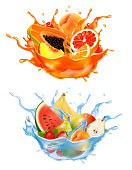 istock Sweet exotic juice and water splash. Whole and sliced papaya, cherry, peach, grapefruit and orange, banana, watermelon, pear in a sweet juce and water with splashes and drops. 3D. Vector. 1327359807