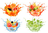 istock Sweet exotic juice and water splash. Whole and sliced papaya, cherry, peach, grapefruit and orange, banana, watermelon, pear mint, citron in a sweet juce and water with splashes and drops. 3D. Vector. 1327359914
