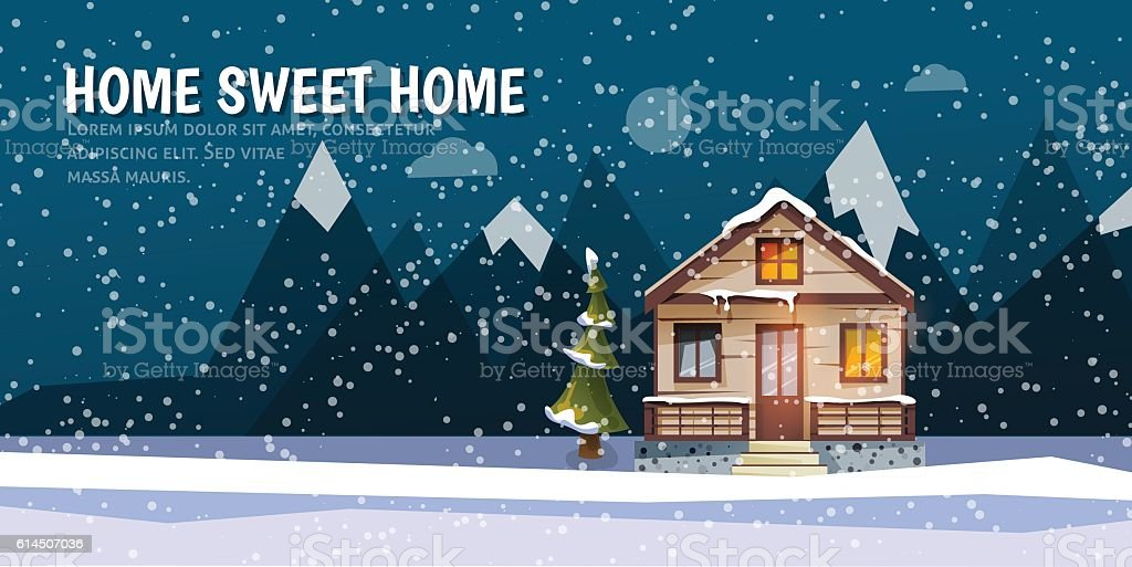 Sweet family home among mountains. A winter banner in flat - Illustration vectorielle