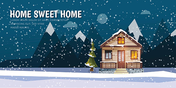 stockillustraties, clipart, cartoons en iconen met sweet family home among mountains. a winter banner in flat - family winter holiday