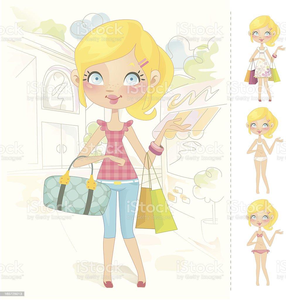 Sweet muñeca barbie (blanca - ilustración de arte vectorial