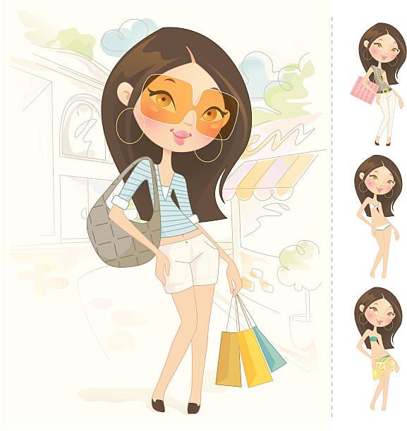 Sweet muñeca barbie (asiáticos - ilustración de arte vectorial