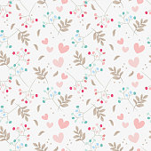 Sweet floral and tiny hearts seamless pattern. Sweet Valentine concept.