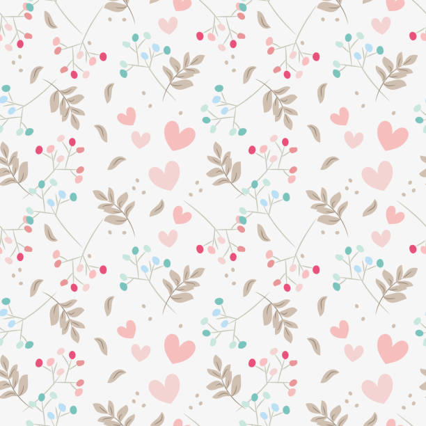 Sweet floral and tiny hearts seamless pattern. Sweet floral and tiny hearts seamless pattern. Sweet Valentine concept. bedroom backgrounds stock illustrations