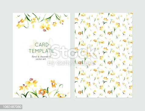 Lovely spring card templates. Awesome yellow daffodils made in watercolor technique. Lovely romantic card templates with spring flowers.