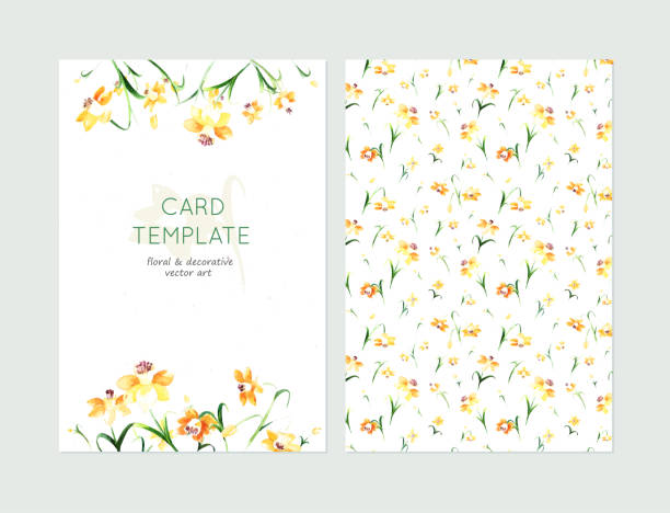 Sweet floral card templates made in watercolor technique. Lovely spring card templates. Awesome yellow daffodils made in watercolor technique. Lovely romantic card templates with spring flowers. daffodil stock illustrations